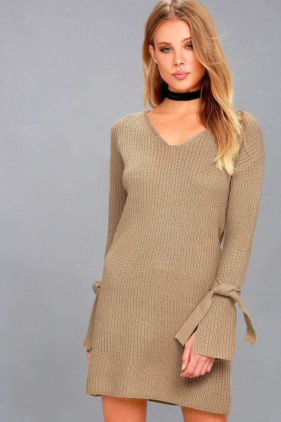 Cute Beige Dress - Sweater Dress - Long Sleeve Dress
