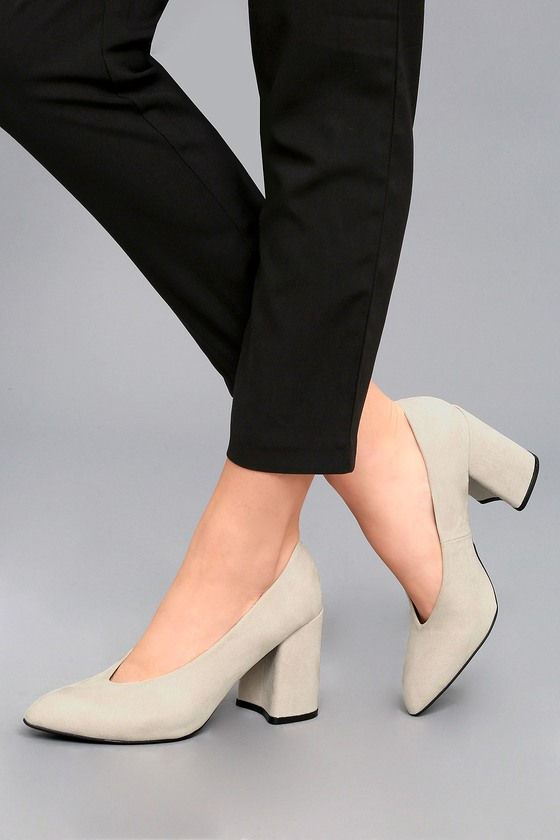 Lilah Oatmeal Suede Pumps 6
