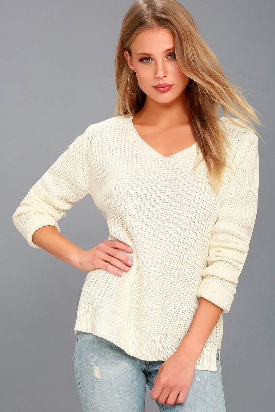 Cute Cream Sweater - Knit Sweater - Pullover Sweater
