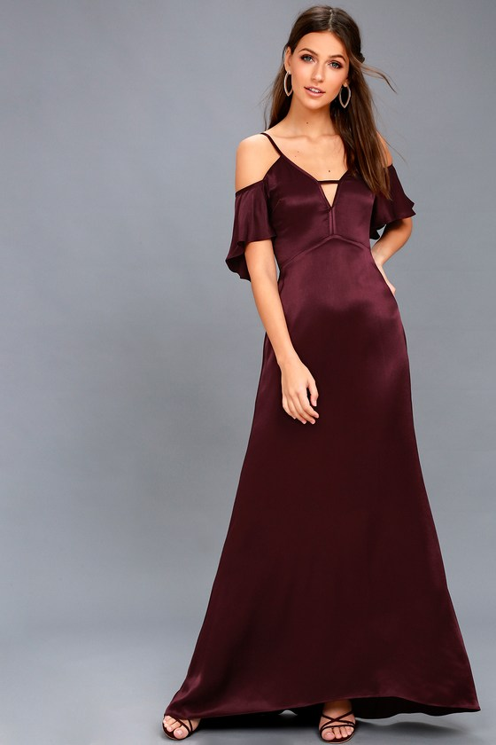 Ride the Pony Plum Purple Satin Off-the-Shoulder Maxi Dress 1
