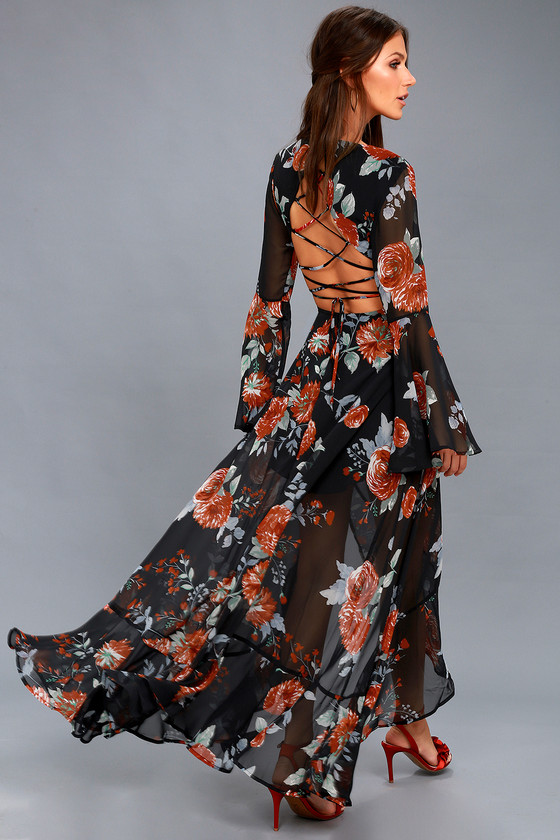 Petals on the Breeze Black Floral Print Maxi Dress