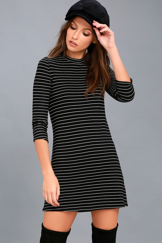 Cool Horizons Black and White Striped Long Sleeve Dress 1