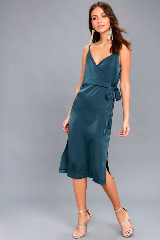 Fall in Love Teal Blue Satin Midi Wrap Dress 2