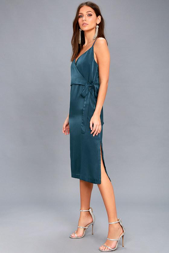 fa9a67da7f EVIDNT Satin Dress - Wrap Dress - Midi Dress - Teal Dress