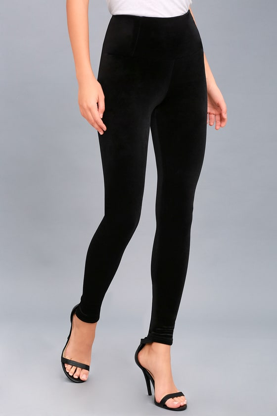 4c854a38bd6a60 Cool Black Velvet Leggings - High-Waisted Leggings