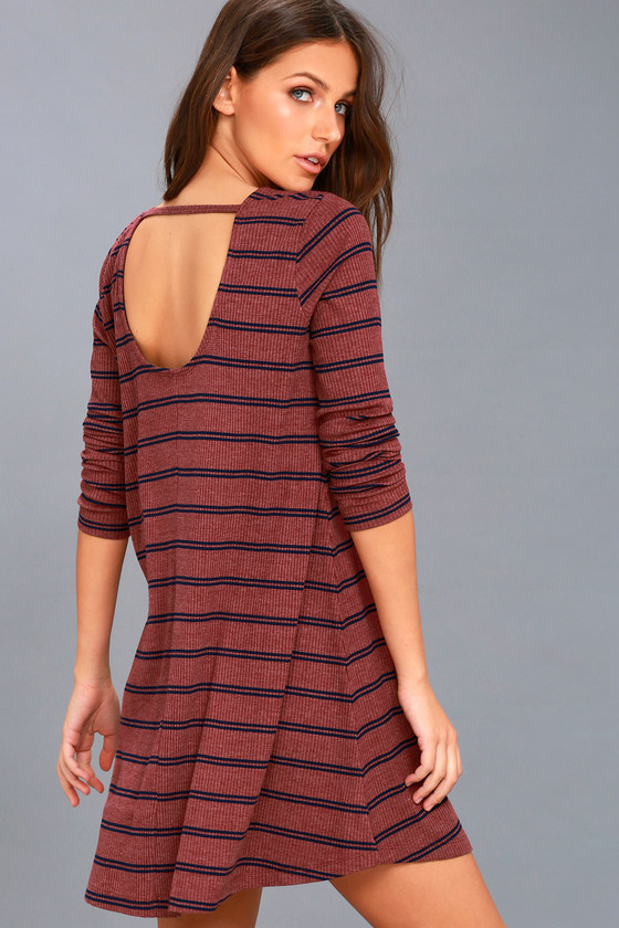 Time Table Washed Burgundy Striped Long Sleeve Dress 1