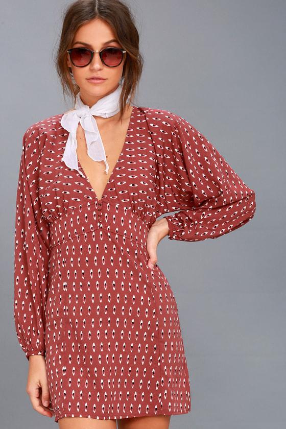 Arrowhead Rusty Rose Print Long Sleeve Dress 3