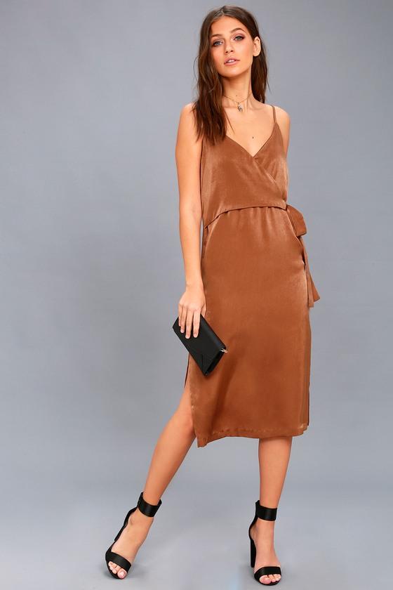 a08100ac8a7 EVIDNT Satin Dress - Wrap Dress - Midi Dress - Brown Dress