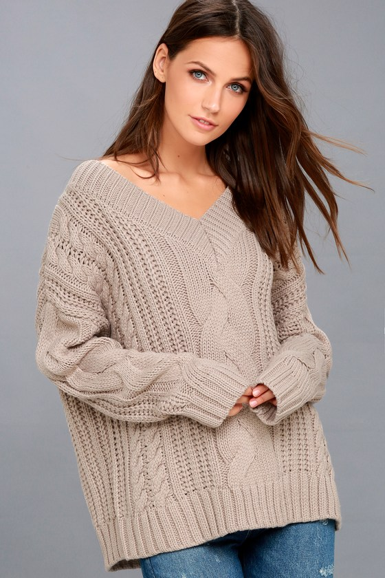8cd3c91aa6d Moon River Knit Sweater - Cable Knit Sweater - Taupe Sweater
