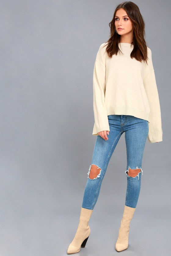 477caf59eee EVIDNT - Cream Backless Sweater Top - Buckle Back Sweater