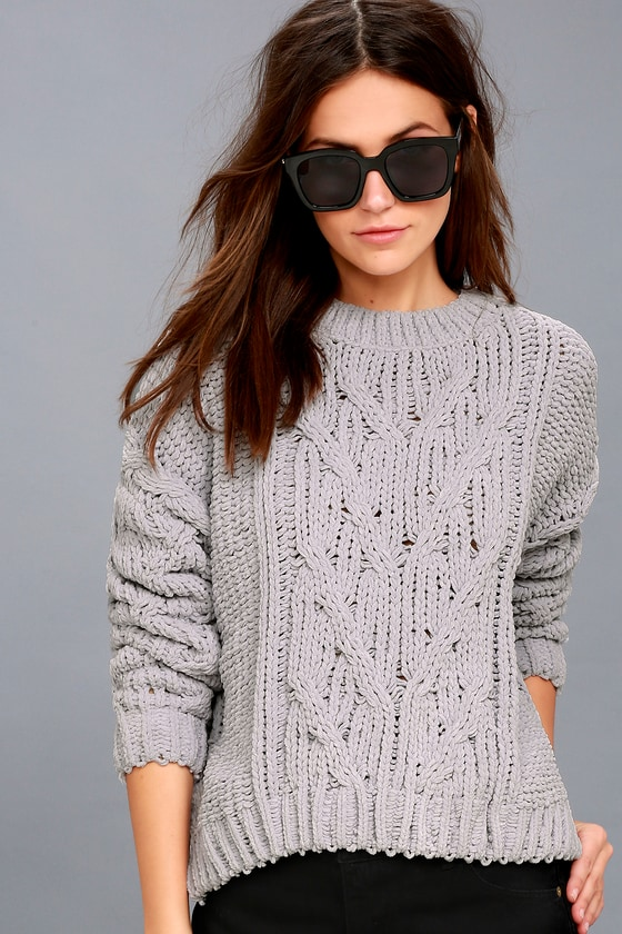 eef0e0dfe44 J.O.A. Grey Cable Knit Sweater - Cable Knit Chenille Sweater