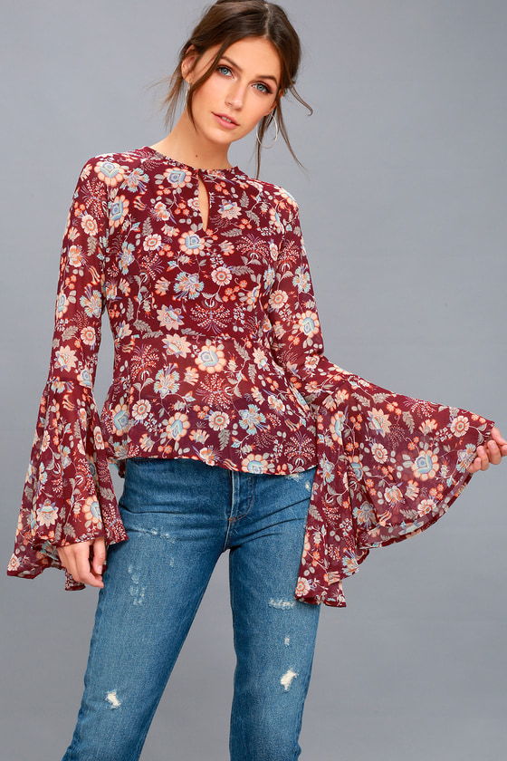 584097d7cca8f9 Boho Burgundy Top - Floral Print Top - Bell Sleeve Top