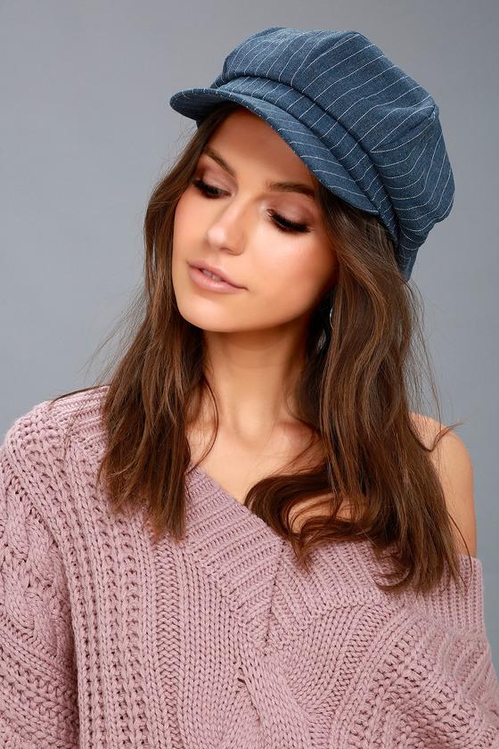 Trendy Denim Blue Hat - Striped Baker Boy Cap - Striped Cap 75dbca104ba6