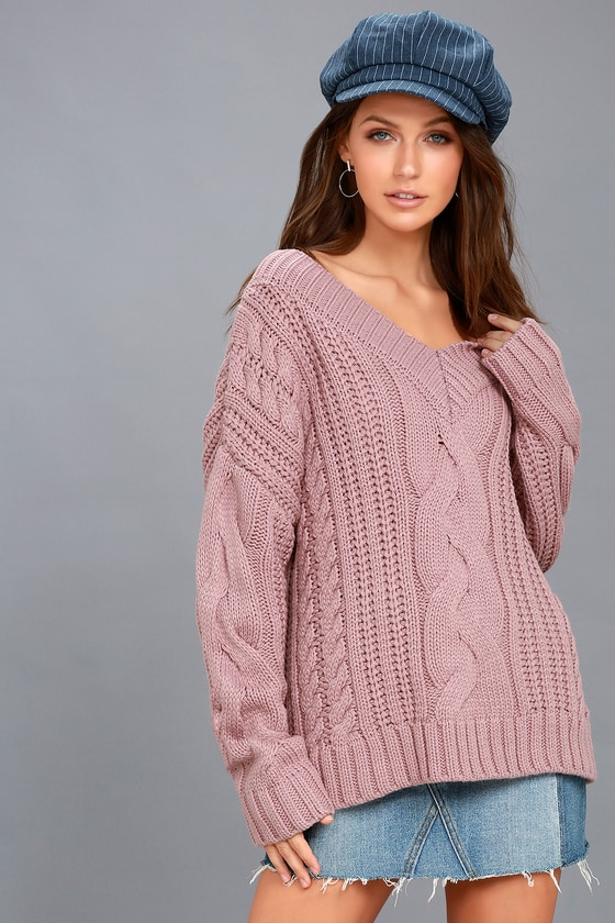 Moon River Knit Sweater - Cable Knit Sweater - Mauve Sweater