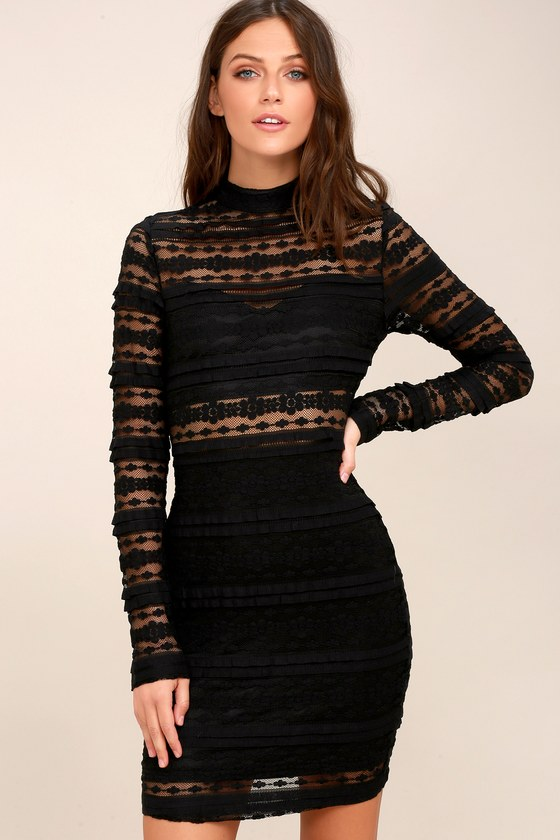 d67a20128f Sexy Black Dress - Sheer Lace Dress - Bodycon Dress