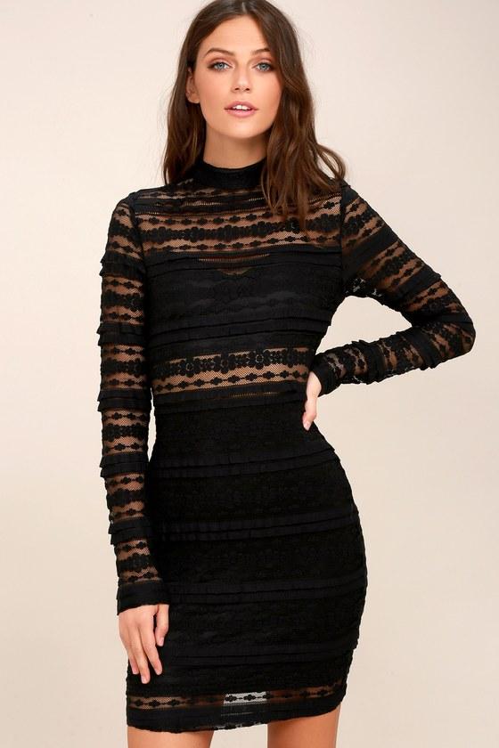 Sexy Black Dress Sheer Lace Dress Bodycon Dress