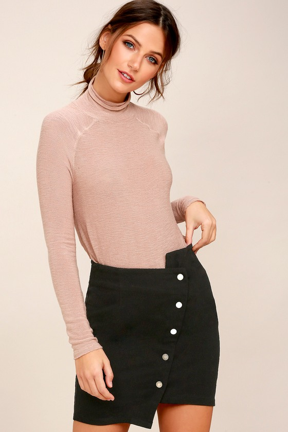 Right Angle Black Button-Front Asymmetrical Skirt 2