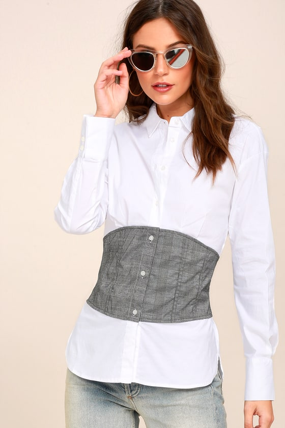Brighley Grey and White Corset Button-Up Top 1