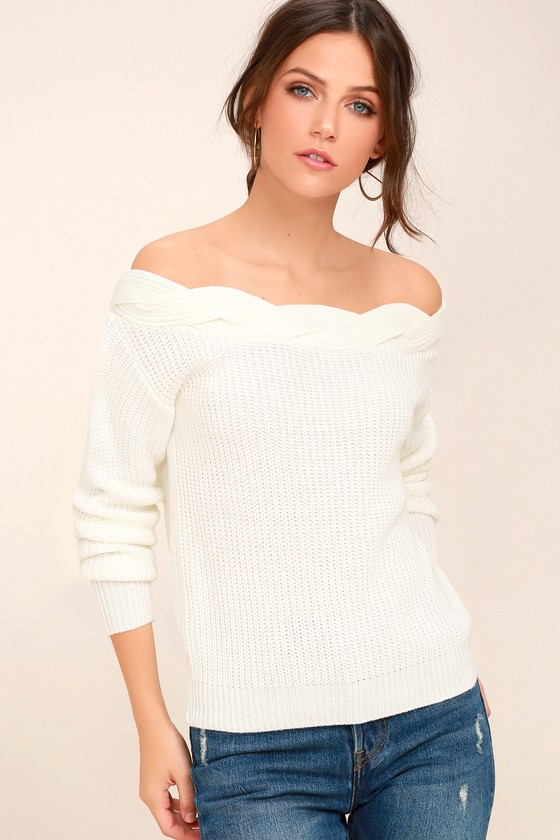 Cute White Sweater - Off-the-Shoulder Sweater - Knit Sweater