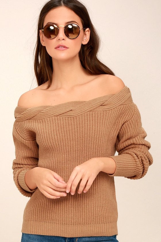 Cute Light Brown Sweater - Off-the-Shoulder Sweater