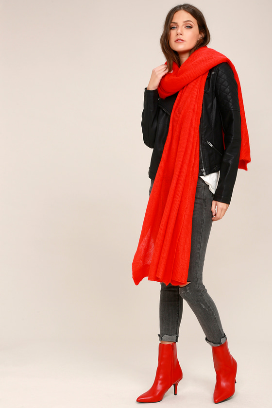 Kennedy Red Waffle Knit Oversized Scarf 1