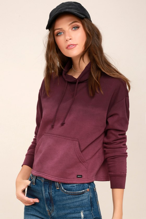 Smudged Plum Purple Ombre Cropped Mock Neck Sweatshirt 3