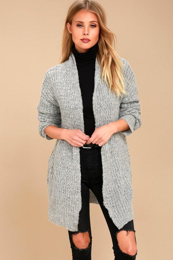 Turning Leaves Grey Knit Cardigan Sweater 1
