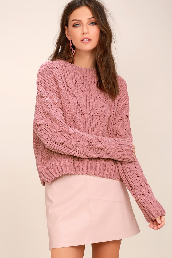 J.O.A. Pink Cable Knit Sweater - Cable Knit Chenille Sweater