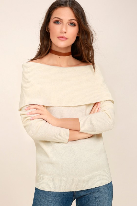 Moon River Knit Sweater - Off-the-Shoulder Sweater