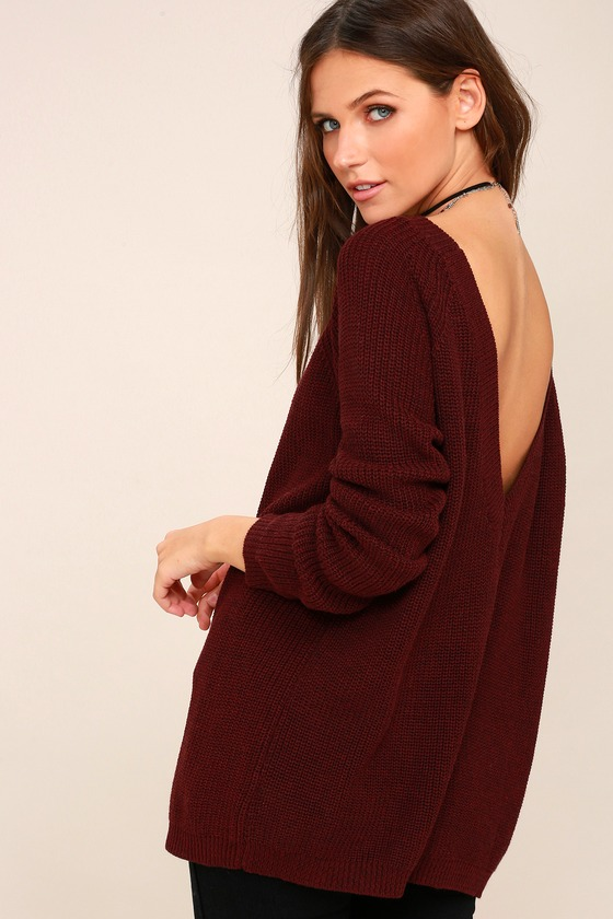Just For You Burgundy Backless Sweater 3