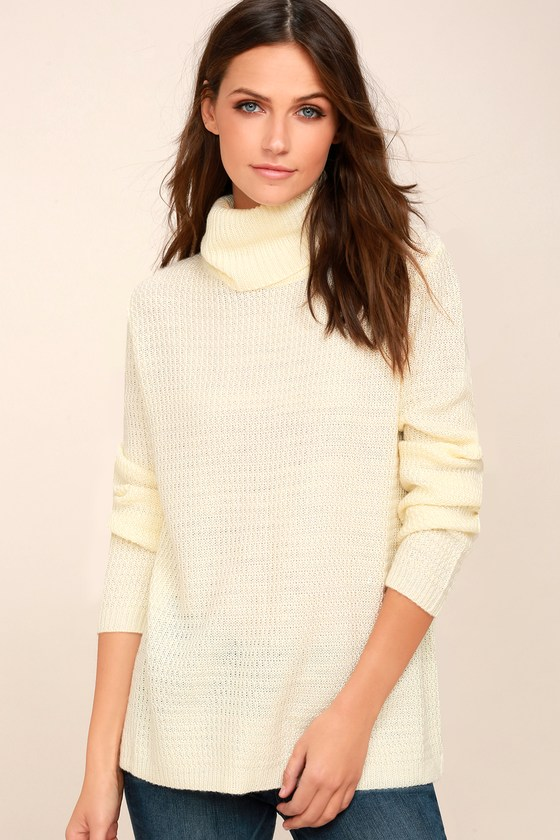 Chic Cream Sweater - Turtleneck Sweater - Knit Sweater