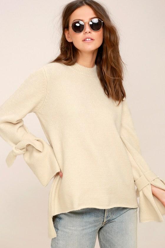 d1ccb03b143557 Cute Light Beige Sweater - Tie-Sleeve Sweater