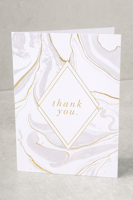 Gold and White Marble Thank You Cards 1