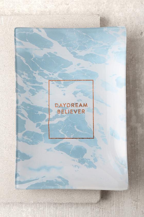 Daydream Believer Rose Gold and Blue Glass Tray 1