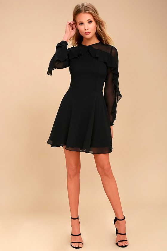 aaa28a3e494 Lovely Black Dress - Long Sleeve Dress - Skater Dress