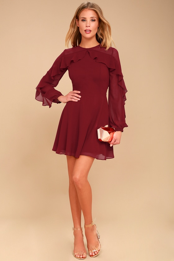 e43debf54d4 Lovely Burgundy Dress - Long Sleeve Dress - Skater Dress