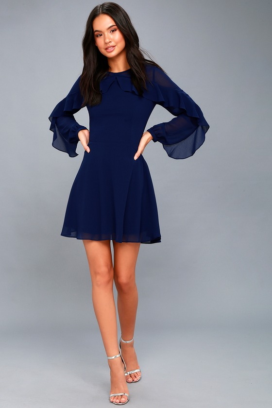 8f93c6aff85 Lovely Navy Blue Dress - Long Sleeve Dress - Skater Dress
