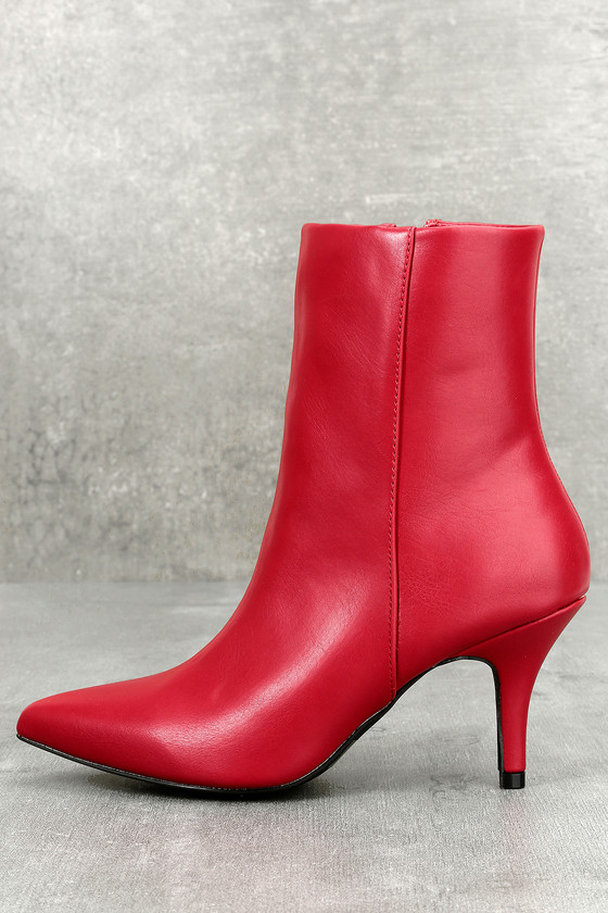 East Village Red Mid-Calf Boots 2