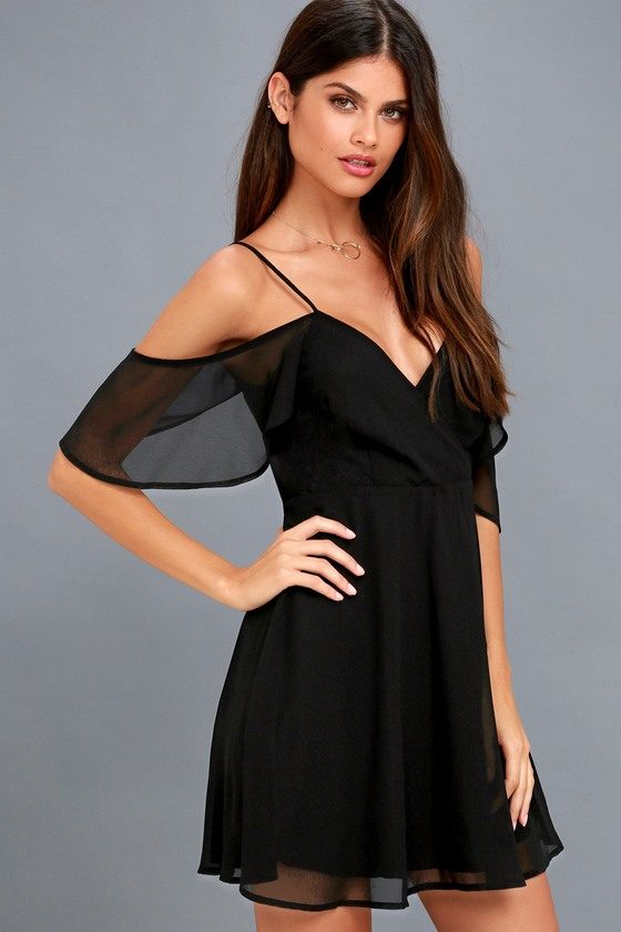 9407ed5524 Chic Black Dress - Off-the-Shoulder Dress - Skater Dress