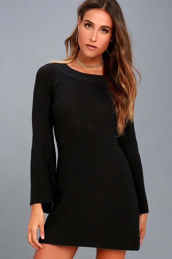 Cuddle a Little Closer Black Bell Sleeve Sweater Dress 4