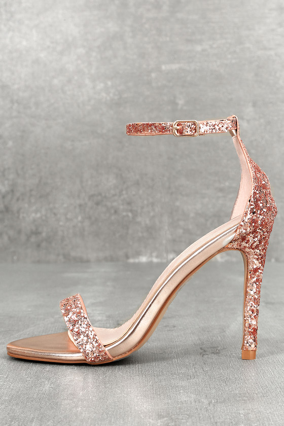 Fitz Champagne Glitter Ankle Strap Heels $27