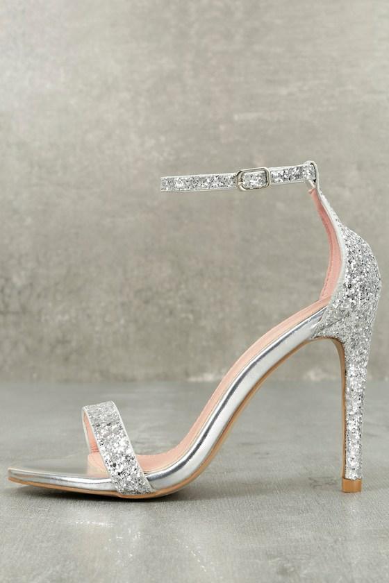 Stunning Silver Heels Glitter Heels Ankle Strap Heels