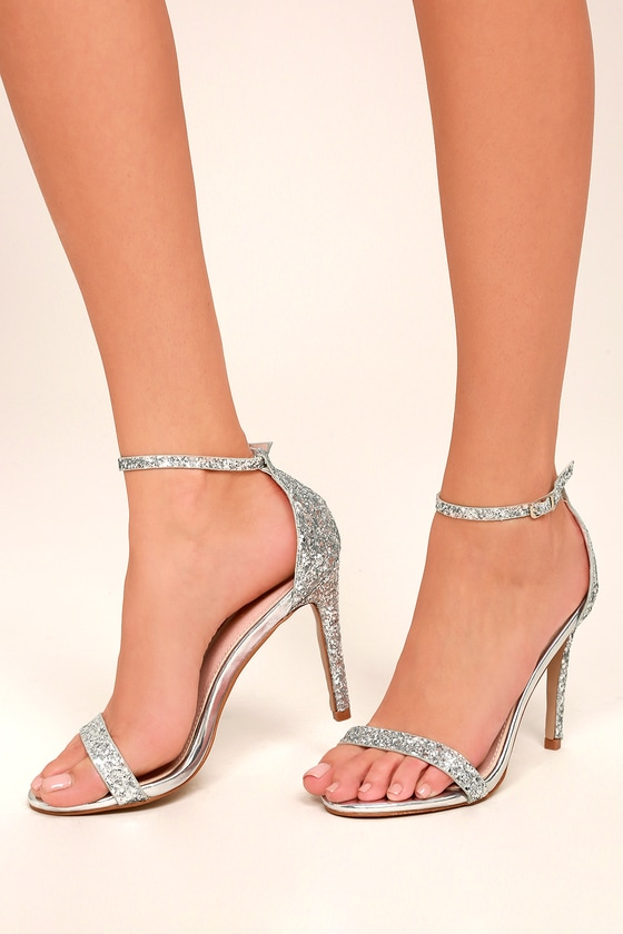 f9417ae9e6b Stunning Silver Heels - Glitter Heels - Ankle Strap Heels