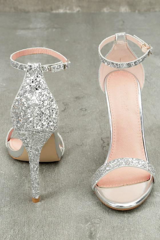Fitz Silver Glitter Ankle Strap Heels 4