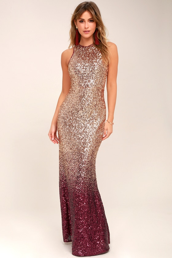 Infinite Dreams Burgundy and Rose Gold Ombre Sequin Maxi Dress - Lulus