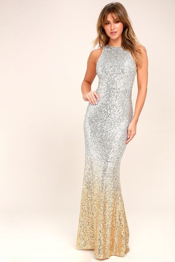 Vintage Evening Dresses and Formal Evening Gowns Infinite Dreams Gold and Silver Ombre Sequin Maxi Dress - Lulus $122.00 AT vintagedancer.com