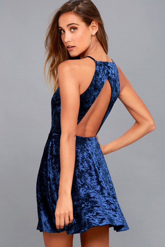 Chic Skater Dress - Royal Blue Dress - Backless Skater Dress 969f005a5