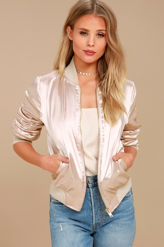 Run this City Light Blush Satin Bomber Jacket