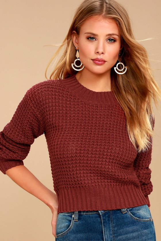Cute Sweater - Brick Red Sweater - Cropped Sweater