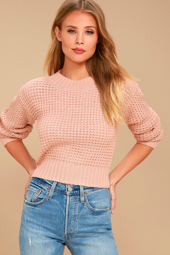Campfire Cozy Blush Pink Cropped Sweater